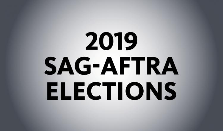 """2019 SAG-AFTRA Elections"" in black on a grey background"