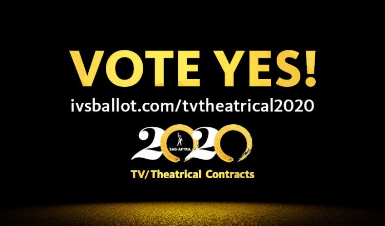 """""""VOTE YES!"""" across the top in gold with 2020 TV/Theatrical logo in the center and ivsballot.com/tvtheatrical2020 in white across the botom"""