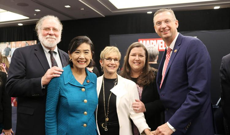 From left, former SAG President and Motion Picture and Television Fund Corporate Board member Richard Masur, Rep. Judy Chu, SAG-AFTRA President Gabrielle Carteris, SAG-AFTRA Executive Vice President Rebecca Damon and Rep. Doug Collins.