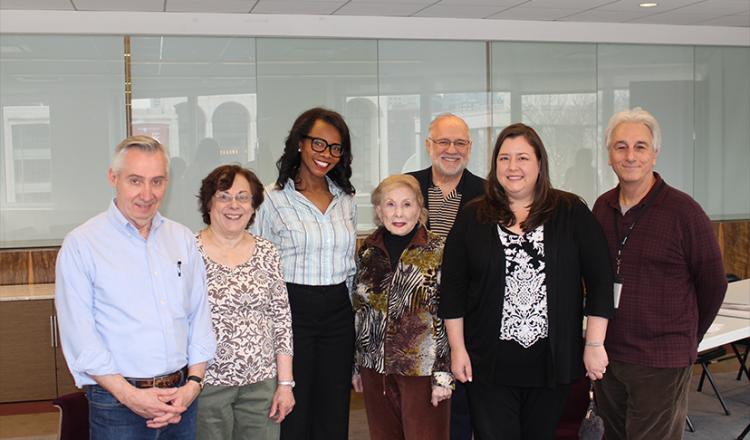 From left, New York BAC members Tim Miller, France Iann, Avis Boone, Joyce Korbin, Chair Gerald Kline, New York Local President Rebecca Damon and committee member Marc Baron.