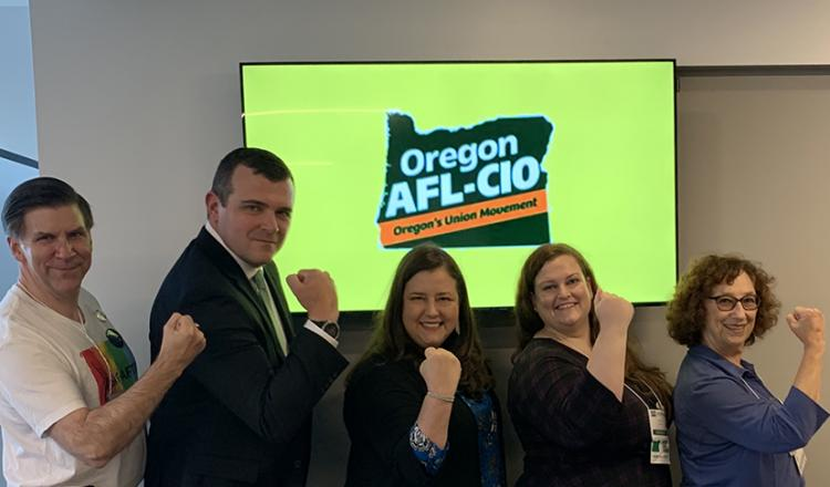 Portland Local Vice President Harold Phillips, Oregon AFL-CIO President Graham Trainor, SAG-AFTRA EVP Rebecca Damon, Oregon AFL-CIO Secretary-Treasurer Christy O'Neill, and Portland Local Secretary Chrisse Roccaro.