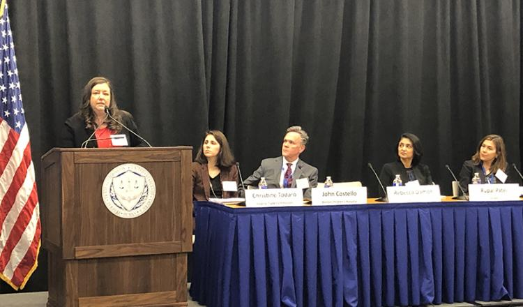 SAG-AFTRA Executive Vice President Rebecca Damon speaks at a workshop on voice cloning in Washington, D.C. on Jan. 28.
