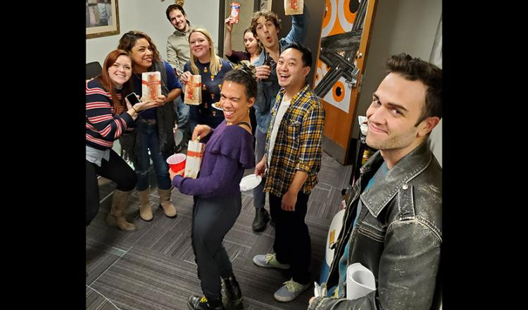 The cast celebrate the terrific event.