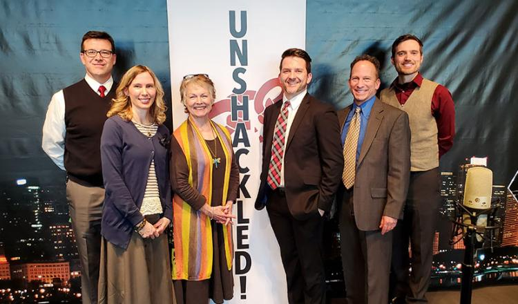 From left, 'Unshackled!' director Tim Gregory and local members Cheryl Lynne Golemo, Connie Foster, Brian Plocharczyk, David Brian Stuart and Patrick Thompson.
