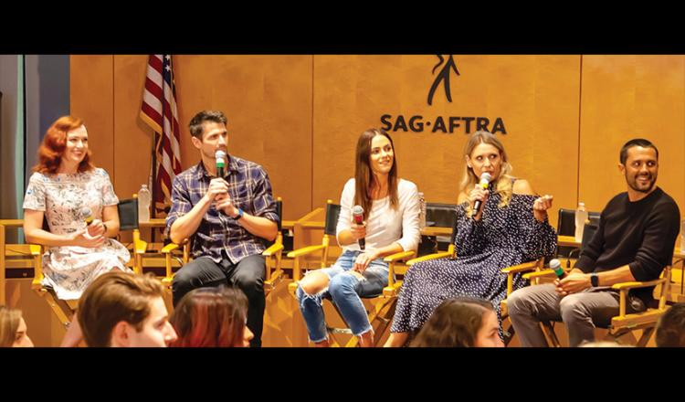 From left, influencer and panel moderator Alicia Malone, series creator James Lafferty, cast member Alexandra Park, executive producer Michelle Lang and series creator Stephen Colletti share the ups and downs of self-producing a comedy series.