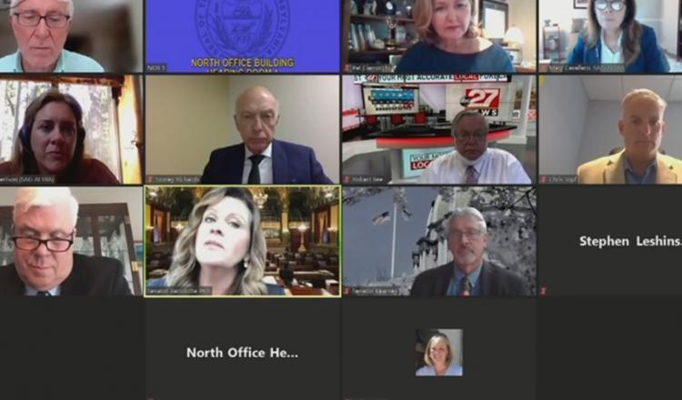 Captura de pantalla de la audiencia de leyes de no competencia de Pensilvania el 10 de junio.