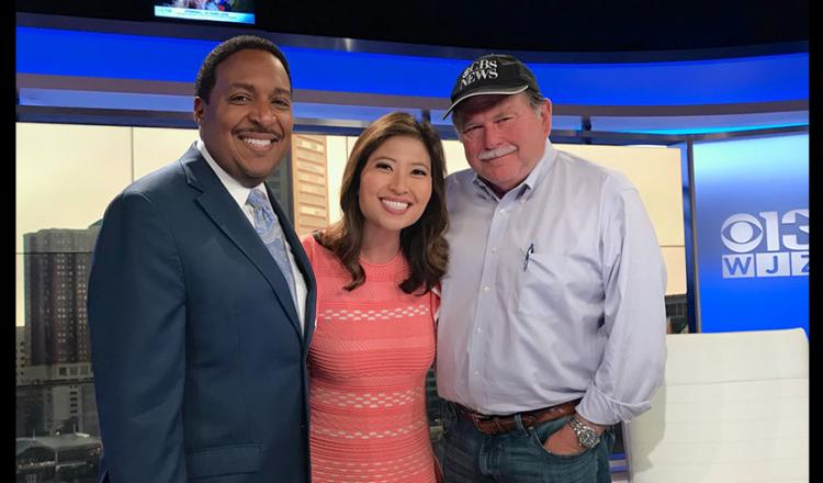 From left, WJZ meteorologist Tim Williams and anchor Linh Bui with reporting veteran and recent retiree Alex Demetrick.