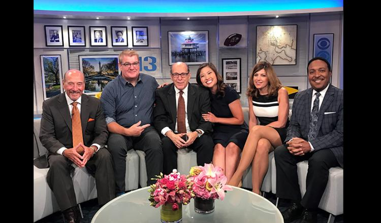 From left, WJZ anchor Marty Bass, reporter and SAG-AFTRA shop steward Mike Schuh, reporter and new retiree Ron Matz, anchor Linh Bui, reporter Sharon Gibala and WJZ meteorologist Tim Williams.