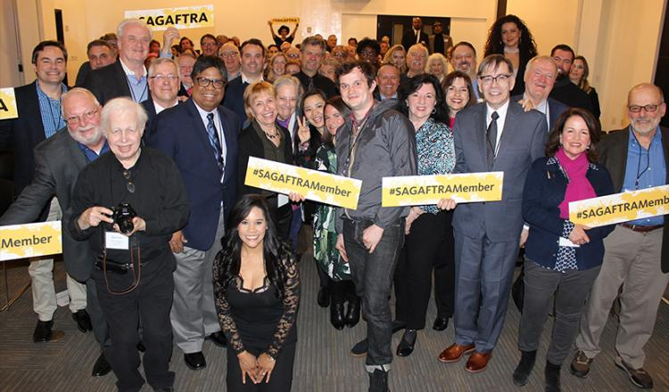 SAG-AFTRA New England members show their union pride at the annual membership meeting on April 11.