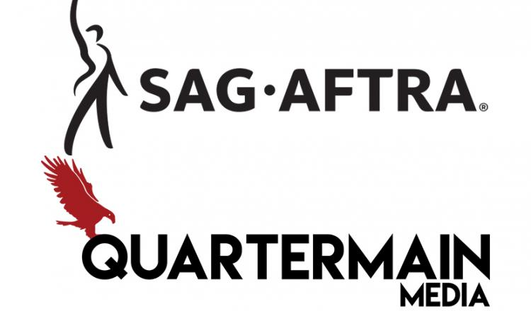 SAG-AFTRA horizontal logo in black and the Quartermain logo stacked
