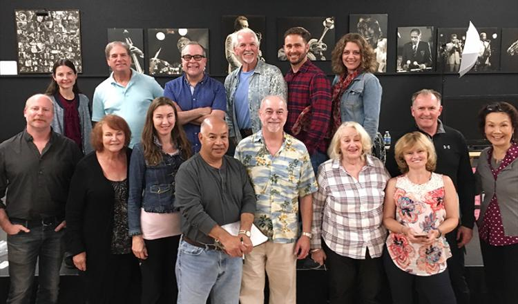 Acting coach Chris Game, second row center left, with members of the San Diego Local office on April 15.