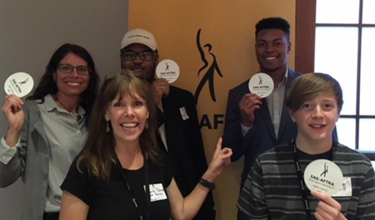 SAG-AFTRA members and other attendees with their SAG-AFTRA swag.
