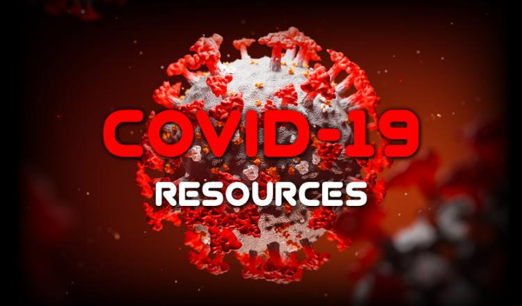 """COVID-19 Resources"" with a COVID-19 molecule in the background"