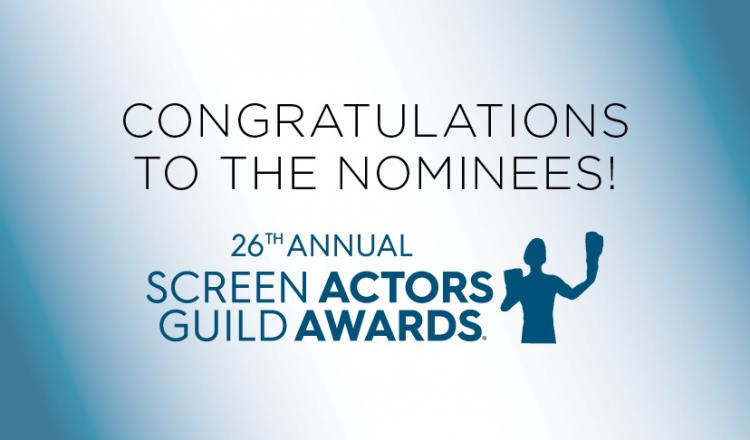 """SAG Awards logo in blue """"Congratulations to the 26 Annual SAG Awards Nominees"""""""