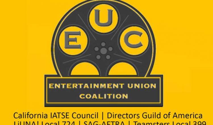 'Entertainment Union Coalition' en rollo de película con 'California IATSE Council   Directors Guild of America 'a continuación en la línea 2 y' LiUNA! Local 724   SAG-AFTRA   Teamsters Local 399 'en la línea 3.