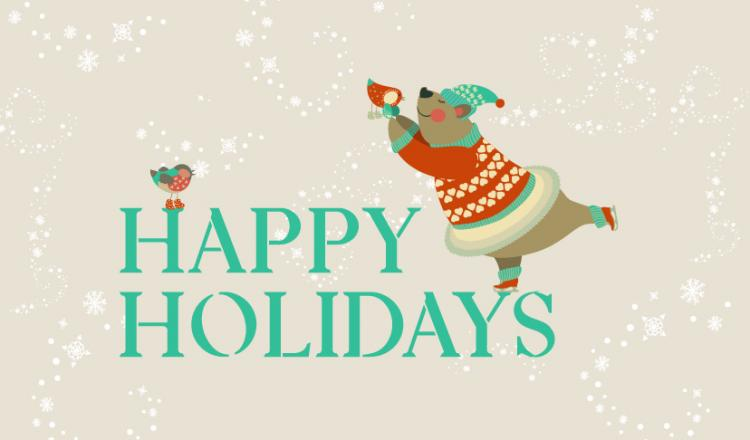 """""""Happy Holidays"""" in teal with a skating brow bear with a red bird on the 'Y' of Holidays on a beige background with snowflake flurries all around"""
