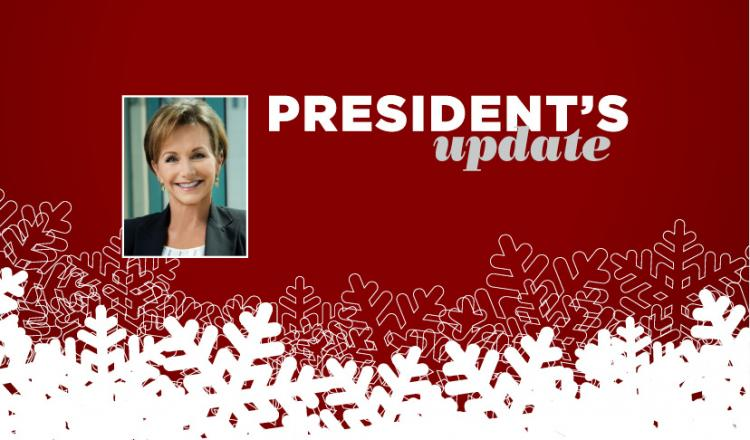 """President's Update"" with Carteris headshot on right third on a dark red background and overlapping white snowflakes across the bottom."