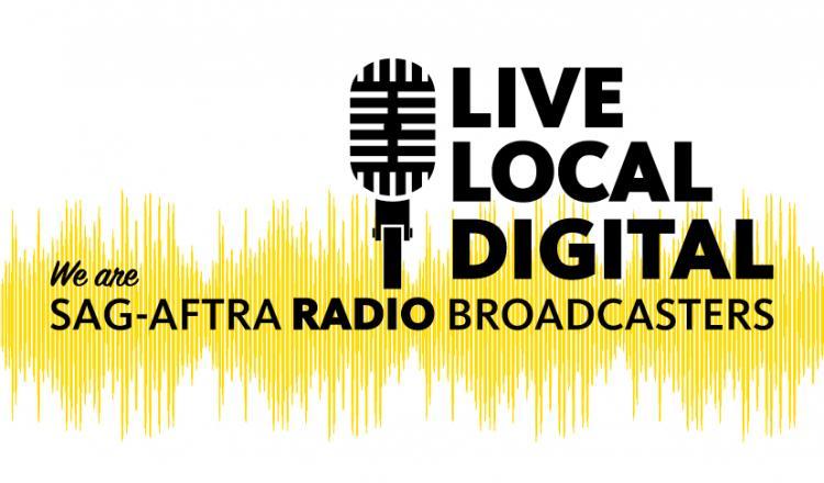 Micrófono 'Somos emisoras de radio SAG-AFTRA' con 'LIVE LOCAL DIGITAL' a la derecha