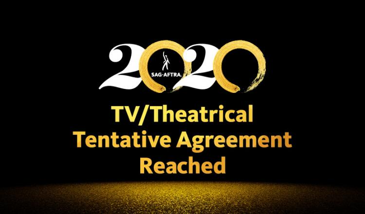 "2020 with white 2's and gold brush stroked 0's on a black background. ""TV/Theatrical Tentaive AGreement Reached"" in gold and gold dust under."