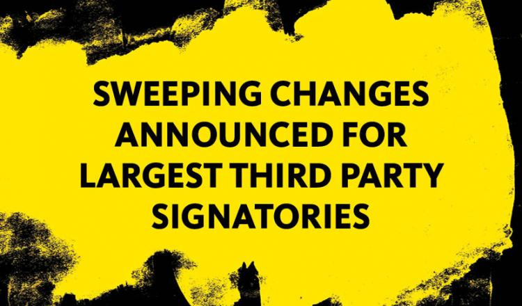 """Sweeping Changes Announced for Largest Third Party Signatories"" in black on a yellow background with black painted borders"