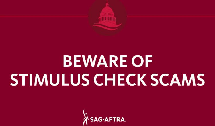 """Beware of Stimulus Check Scams"" on a dark red background"