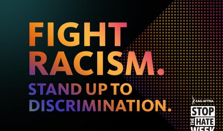 'Lucha contra el racismo. Enfréntate a la discriminación '. texto en arco iris degradado. Stop the Hate logo en blanco en la esquina inferior derecha.