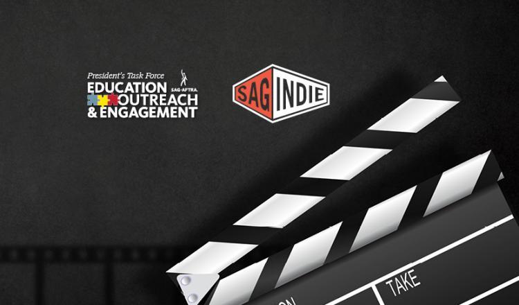 Logotipo de SAG-AFTRA PTEOE en línea con el badajo derecho del logotipo de SAGindie en la esquina inferior derecha y la sombra de la tira de película en la parte inferior izquierda.
