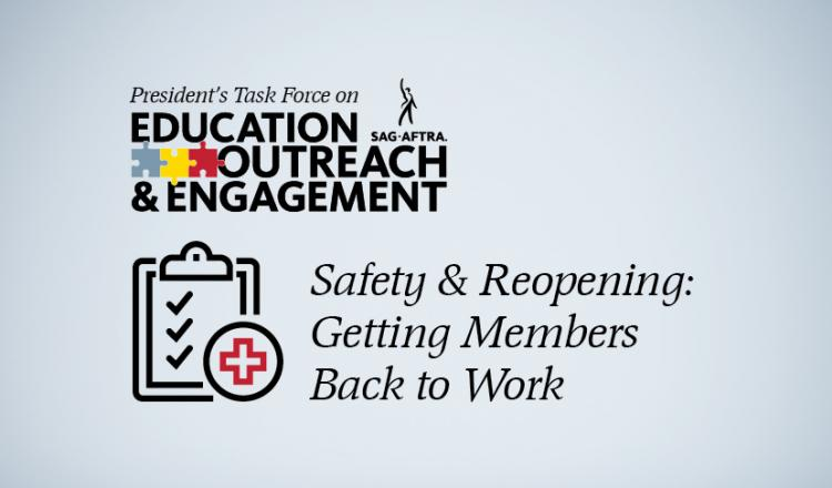 "PTEOE logo above a clipboard with a paper and 3 check marks to the left of ""Safety & Reopening: Getting Members Back to Work"""