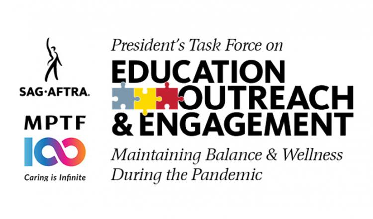 "SAG-AFTRA Logo above MPTF Logo to the left of PTEOE logo with ""Maintaining Balance & Wellness During the Pandemic"" in black on white background"