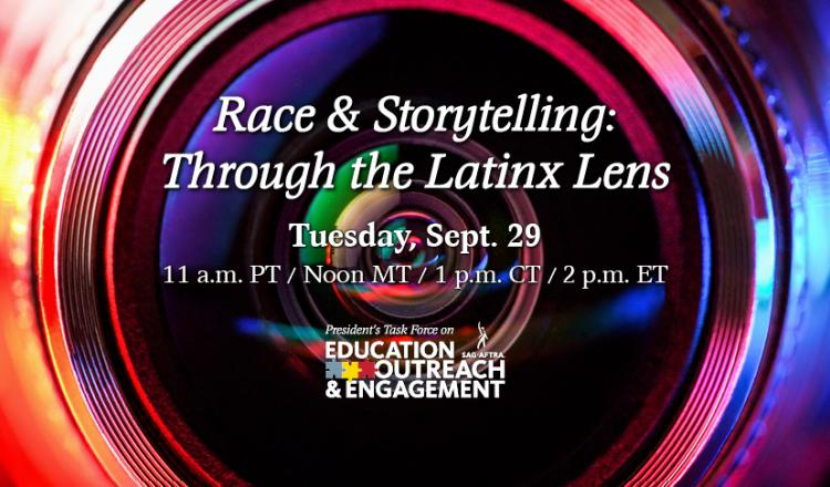 "Camera lens with ""Race & Storytelling: Through the Latinx Lens"" in white over lens"