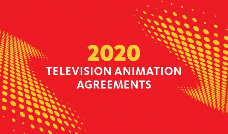 """2020 TV Animation Contracts"" with a red background and yellow animation dots"
