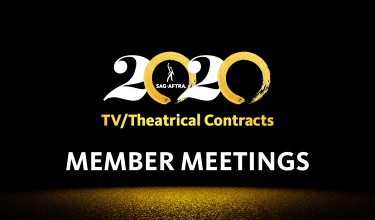 "White 2's with gold brush stroke 0's and ""TV/Theatrical Contracts"" centered on line 2 in gold and ""MEMBER MEETINGS"" centered on line 3 in white with gold dust fading out"