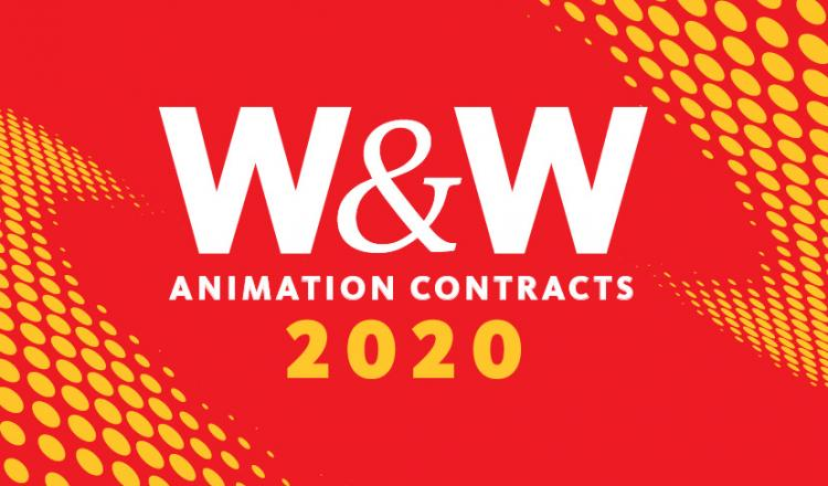 """W&W"" in white bold text with ""ANIMATION CONTRACTS"" in white below it. 2020 in yellow below on a red background. yellow dot comic book like animation on top right corner and bottom left corner"