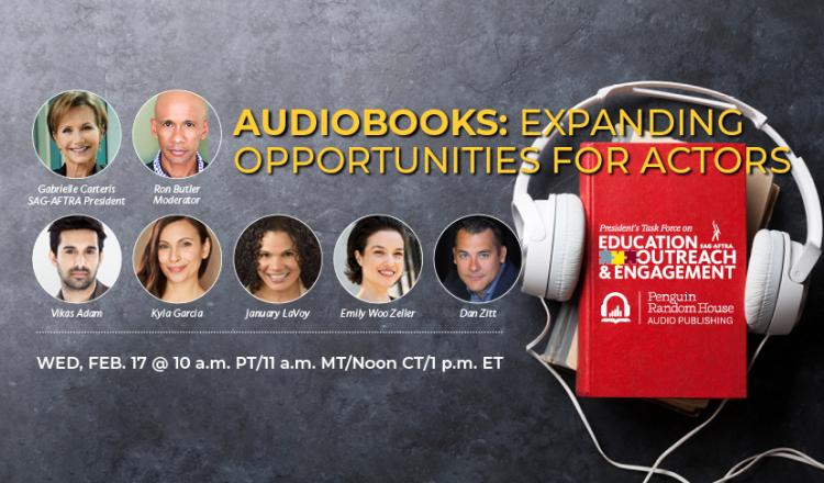 'Audiolibros: Ampliando las oportunidades para los actores' en amarillo. Disparos a la cabeza Fila 1 LR: Carteris, Butler Fila 2 LR: Adam, García, LaVoy, Woo Zeller, Zitt. Auriculares blancos envueltos alrededor de una pila de libros.
