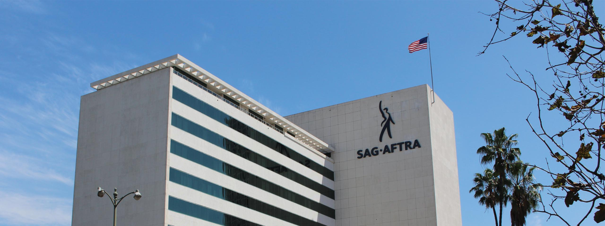 SAG-AFTRA's logo displayed on the SAG-AFTRA Plaza building in Los Angeles.