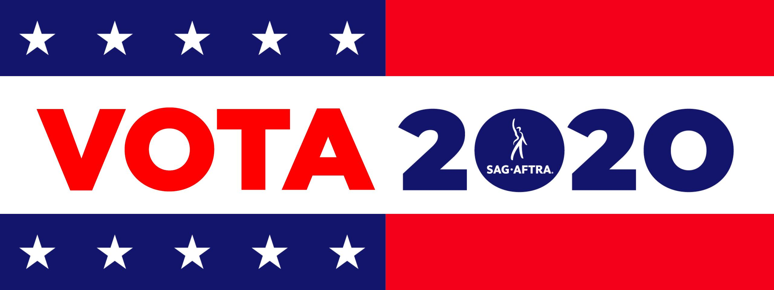 'Vota 2020' in red and blue on a white background
