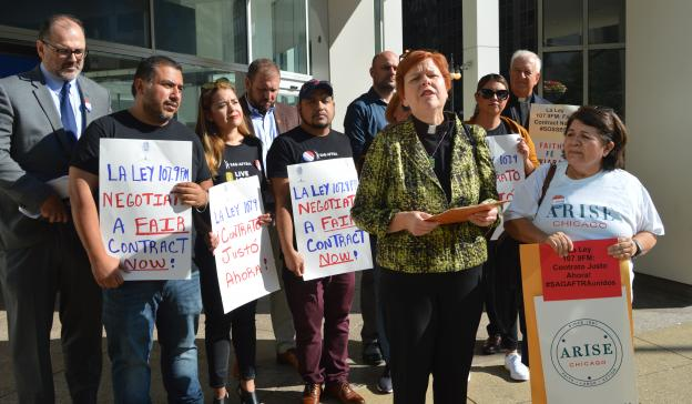 """Reverend C.J. Hawking of Arise Chicago said during the press conference Sept. 4, 2019: """"We are calling upon La Ley to be a good community leader by treating their workers fairly and paying them professional wages. If La Ley management values their listene"""