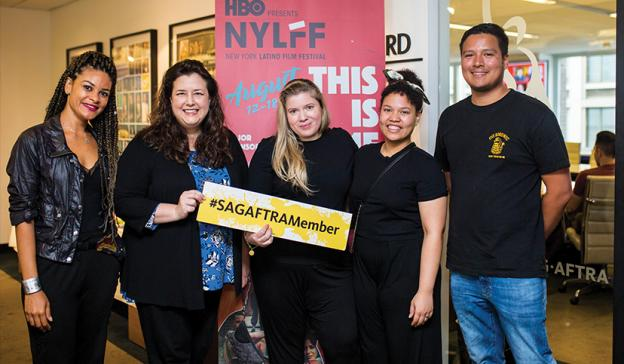 SAG-AFTRA Executive Vice President and New York Local President Rebecca Damon, second from left, with N.Y. Latino Film Festival volunteers.