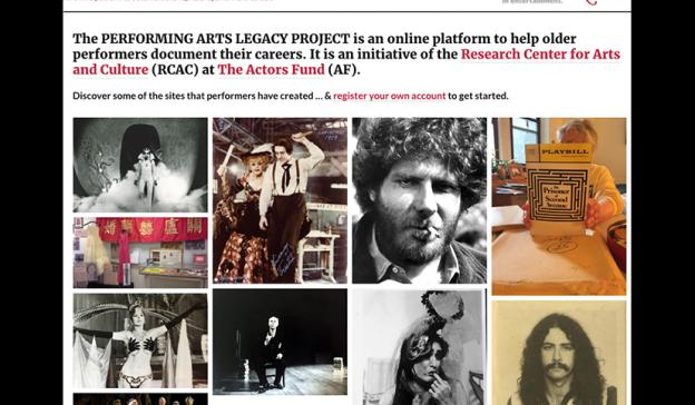 Performing Arts Legacy Project website screenshot