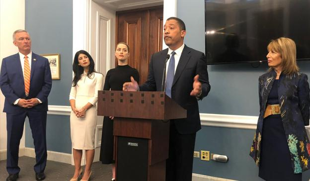 SAG-AFTRA National Executive Director David White speaks at the SHIELD Act press conference in Washington, D.C., on May 22, joined by, from left, Rep. John Katko, University of Miami School of Law professor Mary Anne Franks, SAG-AFTRA member Amber Heard a