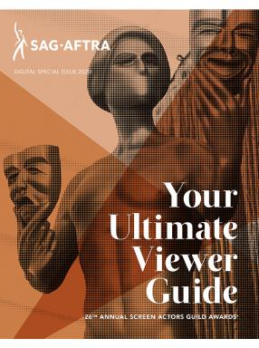 """Your Ultimate Viewer Guide"" in white overlaying The Actor with a 3-tone orange filter."