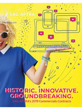 "beach blonde female wearing blue t-shirt holds a graphic laptop with iphone and tablet in her left palm. ""SAG-AFTRA"" in the top left corner w/ ""Summer 2019"" right below. ""Historic. Innovative. Groundbreaking. SAG-AFTRA's 2019 Commercials Contracts"""