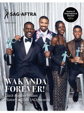 2019 Spring Magazine Cover with Sterling K. Brown holding an Actor in each hand, sitting on a stool, Michael B. Jordan standing behind him, Lupita Nyong'o in front of Jordan and to Brown's left, with Chadwick Boseman to her left sitting on a stool.