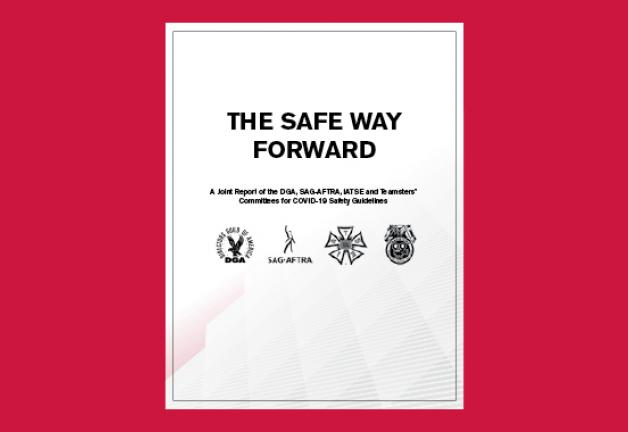 "La portada del documento ""The Safe Way Forward"" con fondo rojo"