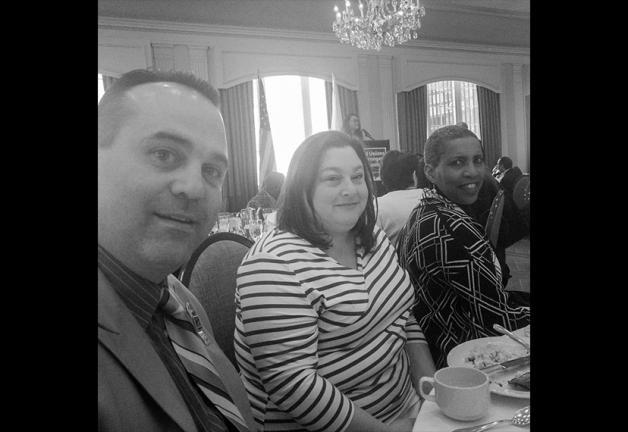Local staff member Ellen Stoolmacher, center, joins board members Chuck Slavin and Andrea Lyman at the GBLC Annual Legislative Breakfast. (Photo by Philip H. Wachsler)