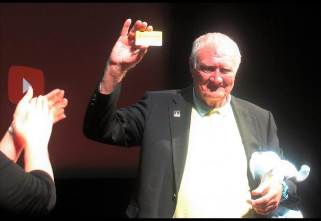 Thomas Hanley with his honorary SAG-AFTRA membership card.