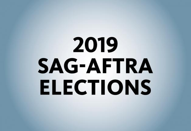 """""""2019 SAG-AFTRA Elections"""" in black on a blue background"""