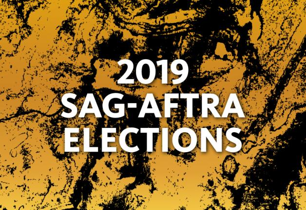 """2019 SAG-AFTRA Elections"" in white over a yellow and black paint splattered background"