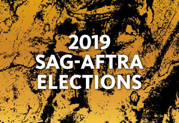 """""""Elecciones SAG-AFTRA 2019"""" en blanco sobre un fondo salpicado de pintura amarilla y negra"""