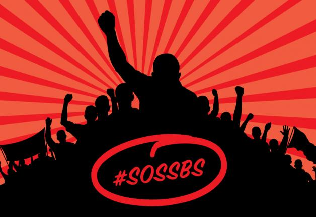 "Mountain of people's silhouettes with a dark red and salmon red array for the background and ""#SOSSBS"" in red centered inside of the silhouette"